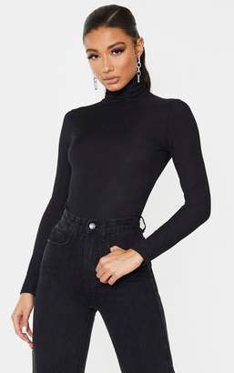 PrettyLittleThing Black Long Sleeve Rib Roll Neck Bodysuit