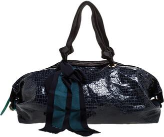 Lanvin Navy Blue Croc Embossed Leather Duffel Bag
