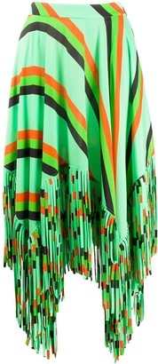 MSGM asymmetric fringed A-line skirt
