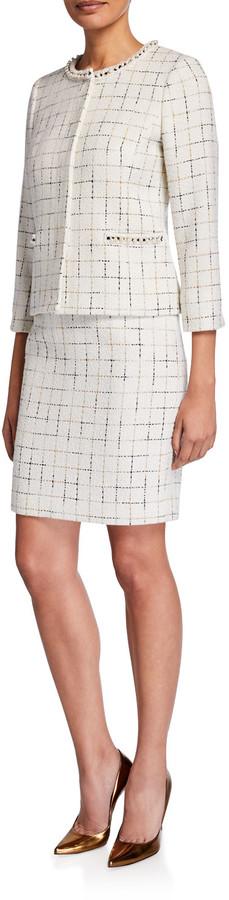 Albert Nipon Two Piece Metallic Check Tweed Skirt Suit w/ Pearlescent Trim