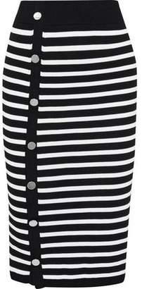 Altuzarra Temio Button-detailed Striped Stretch-knit Pencil Skirt