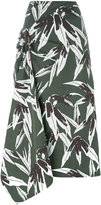 Marni leaf print full skirt - women - Cotton/Linen/Flax - 40