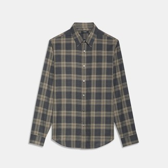 Theory Phoenix Shirt in Plaid Cotton