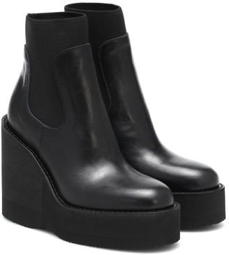 Sacai Leather platform ankle boots