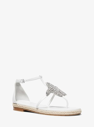 Michael Kors Annabeth Starfish-Embellished Leather Sandal