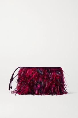 Dries Van Noten Feather-embellished Croc-effect Leather Clutch - Burgundy