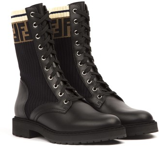Fendi Leather And Mesh Biker Boots With Ff Monogram