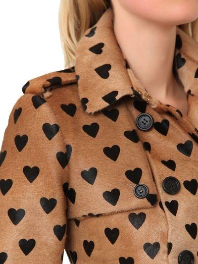 Burberry Heart Printed Ponyskin Trench Coat