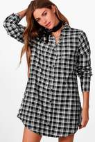 boohoo Ellie Checked Lace Up Chain Shirt Dress