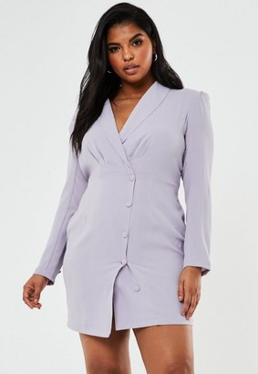 Missguided Size Lilac Button Front Blazer Dress
