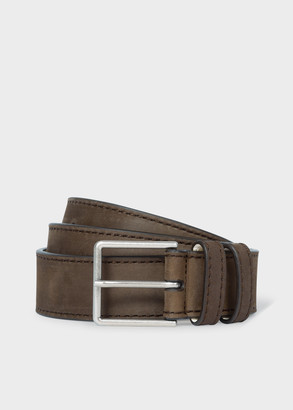 Paul Smith Men's Brown Nubuck Leather Belt With Silver Buckle