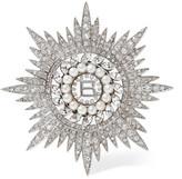 Balenciaga Palladium-tone, Cubic Zirconia And Swarovski Pearl Brooch - Silver