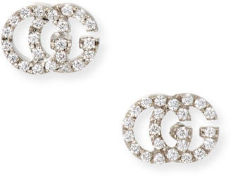 Gucci Running G Pave Diamond Stud Earrings in 18K White Gold