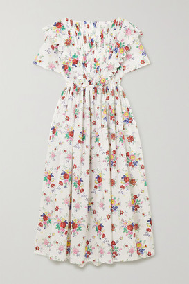Horror Vacui Flabella Pintucked Floral-print Cotton-voile Midi Dress - Ivory