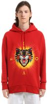Gucci Angry Cat Patch Cotton Hooded Sweatshirt