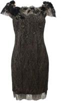 Marchesa Metallic Lace Cocktail Dress