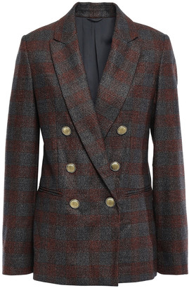 Brunello Cucinelli Double-breasted Metallic Prince Of Wales Checked Wool-blend Blazer