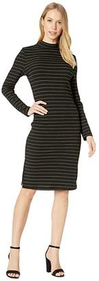 BB Dakota Gold Rush Lurex Rib Knit Midi with Back Keyhole (Black) Women's Dress