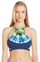 Lucky Brand Women's Half-Moon Tie-Dye High-Neck Bikini Top with Removable Cups