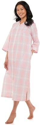 Miss Elaine Women's Essentials Seersucker Zip-Front Robe