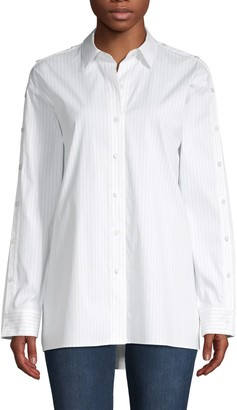 Lafayette 148 New York Trinity Striped Cotton Blouse