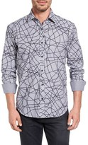 Bugatchi Shaped Fit Graphic Print Sport Shirt