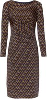 Gina Bacconi Navy Gold Print Jersey Dress