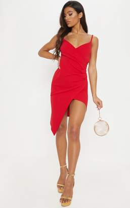 PrettyLittleThing Lauriell Red Wrap Front Crepe Midi Dress