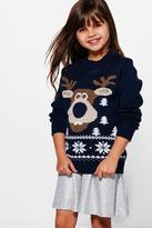 Boohoo Girls 3D Rudolph Nose Christmas Jumper