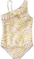 Old Navy Girls Metallic-Print One-Shoulder Swimsuits