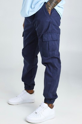 boohoo Mens Navy Elastic Waist Slim Fit Cargo Trouser, Navy