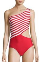 MICHAEL Michael Kors Stable Striped One-Piece Swimsuit
