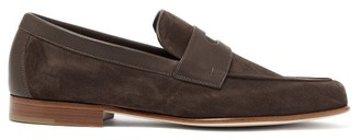 John Lobb Hendra Suede Penny Loafers - Mens - Dark Brown