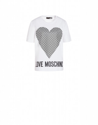 Love Moschino Jersey T-shirt With Check Heart Woman White Size 38 It - (4 Us)