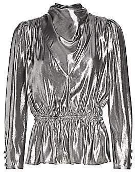 Gucci Women's Silk Lamé Cowl Front Peplum Top