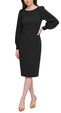 Calvin Klein Petite Puff-Shoulder Dress