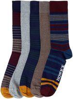Howick 5 Pack Burgundy Stripe Sock