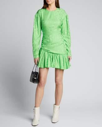 Les Rêveries Ruched Long-Sleeve Floral Jacquard Dress
