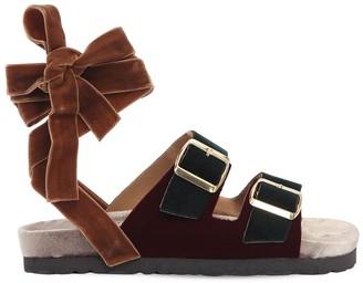30mm Velvet Lace-up Sandals