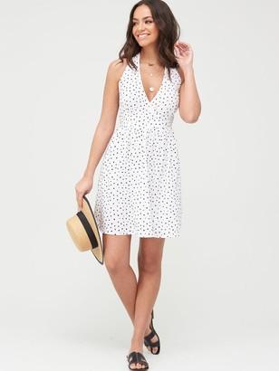 Very Halter Neck Cotton Mini Beach Dress -Spot Print