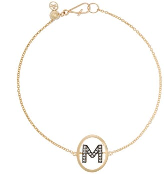 Annoushka 18kt yellow gold diamond initial M bracelet