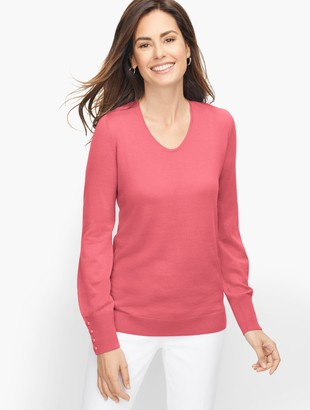 Talbots Soft Merino V-Neck Sweater - Solid