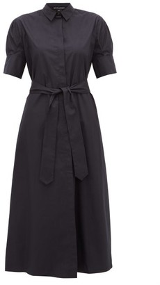 story. White Antonia Tie Waist Cotton Shirtdress - Womens - Navy