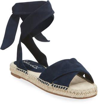 Splendid Tereza Suede Ankle-Wrap Flat Espadrilles