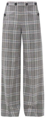 Roland Mouret Palmetto Checked Wool Wide-leg Trousers - Womens - Blue Multi