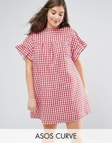 Asos Red Gingham Smock Dress