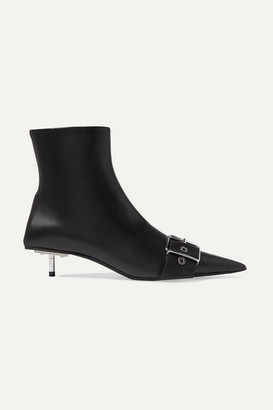 Balenciaga Belt Leather Ankle Boots - Black
