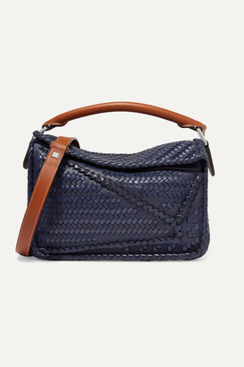 Loewe Puzzle Small Woven Leather Shoulder Bag - Navy