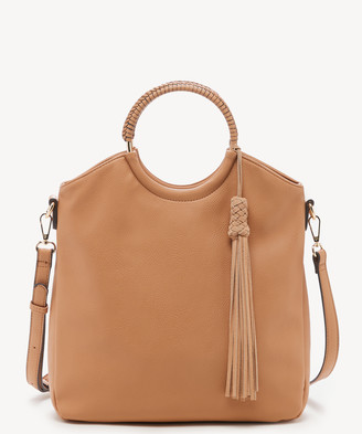 Sole Society Women's Day Tote Ring Camel Vegan Leather Genuine Suede From