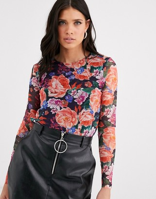 Y.A.S Soki round neck floral print mesh long sleeve top-Multi